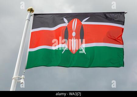 Flag of Kenya waving in the wind - Stock Photo