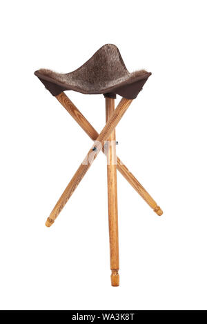 Folding Wooden Hunting Stool Tripod Isolate On White