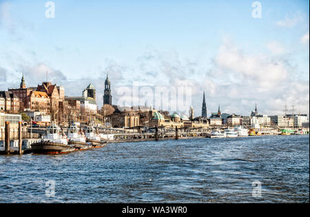 German city of Hamburg with port famous Michel photographed from the river Elbe - Stock Photo