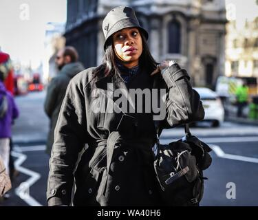 LONDON, UK- February 15 2019: Jan-Michael Quammie on the street during the London Fashion Week. - Stock Photo