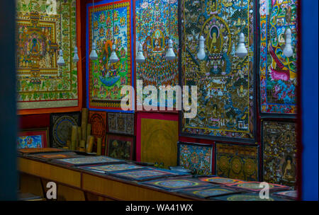Kathmandu, Nepal: November 02,2017: Mandala shop with different art works in Kathmandu - Stock Photo
