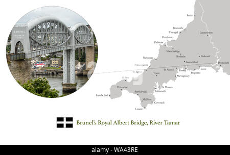 Map of Cornwall, featuring photographic image of Brunel's Royal Albert Bridge over the River Tamar, and key towns in Cornwall marked on map. - Stock Photo