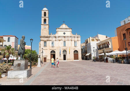 Chania, Crete, Greece. June 2019. Chania Cathedral dedicated to Panagia Trimartyri the Patron Saint of Chania in the old town centre. - Stock Photo