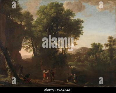Landscape with the baptism of the eunuch, Herman van Swanevelt, 1630 - 1639 - Stock Photo