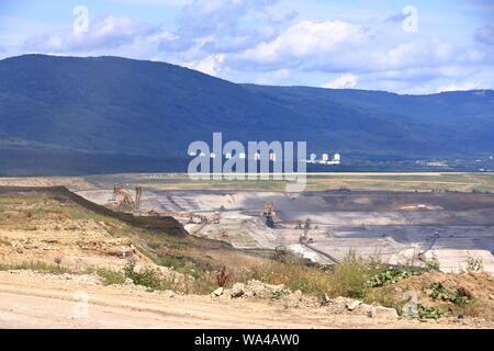 Brown coal mine near ledvice/bilina in the Czech republic - Stock Photo