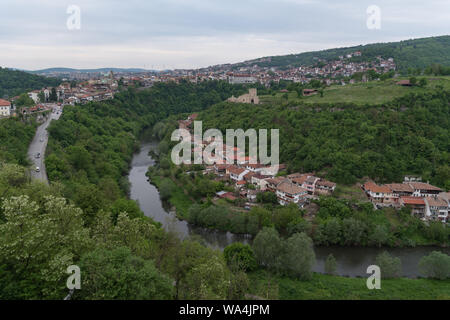 Panoramic view of Veliko Tarnovo old town, Yantra river and View to tower and Trapezitsa fortress. Bulgaria - Stock Photo