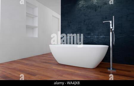 Bath tub in spacious modern bathroom with laminate wooden floor. 3d rendering - Stock Photo