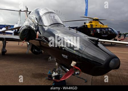 BAE Systems Hawk T2 on static display at the 2019 Royal International Air Tattoo - Stock Photo