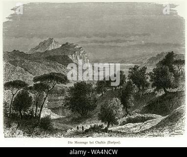 Die Meerenge bei Chalkis (Euripos) - Schweiger Lerchenfeld Amand (freiherr Von) - 1887. - Stock Photo
