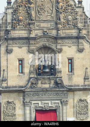 Facade of National Palace in Mexico city - Stock Photo