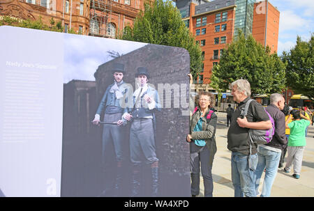 Manchester, UK. 17th August, 2019. A weekend of events are taking place to commemorate the Peterloo Massacre, when on 16th August 1819 a crowd of 60,000 walked to the meeting point in St Peters Field when government forces charged into the crowd, killing 18 men, women and children and injuring hundreds.  200 years later and the city remembers.  Public events are taking place with the Peterloo Tapestry on show and a soapbox crate in place for people to have their say on proposals for rebooting democracy. Manchester Central,St Peters, Manchester, UK. UK. Credit: Barbara Cook/Alamy Live News - Stock Photo