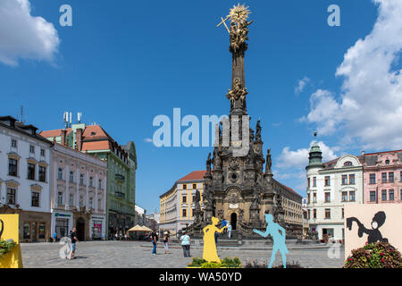 Column of Holy Trinity in Olomouc, Czech Republic is a UNESCO World Heritage Site - Stock Photo