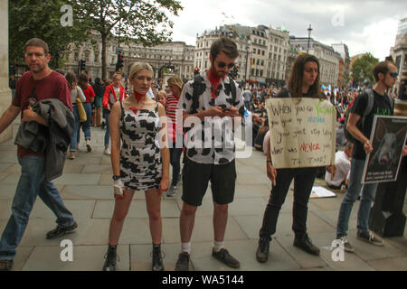 London, UK - 17 August 2019: Thousands of Animal Rights demonstrators took ot the street of London in a march from Park lane to Whitehall, leading to road closures around Traflagar Square on 17 August 2017. The march founded by UK animal rights organisation Surge began in London in 2016 with 2,500 attendees and by 2018 had gathered a global attendance of 28,000 vegans marching in 25 cities across the world, demanding an end to all animal oppression. Credit: David Mbiyu/Alamy Live News - Stock Photo