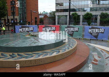 People gather together in Manchester in memory of the people that died in the Peterloo Massacre 200 years ago - Peterloo Memorial Manchester. - Stock Photo