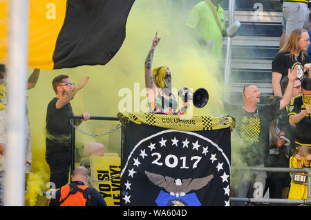 Saturday, August 17, 2019: Columbus Crew SC fans in the first half of the match between Toronto FC and Columbus Crew SC at MAPFRE Stadium, in Columbus OH. Mandatory Photo Credit: Dorn Byg/Cal Sport Media. Toronto FC 1 - Columbus Crew SC 0 at the end of the first half. - Stock Photo