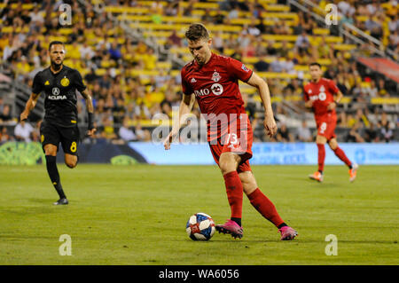 Saturday, August 17, 2019: Toronto FC forward Patrick Mullins in the second half of the match between Toronto FC and Columbus Crew SC at MAPFRE Stadium, in Columbus OH. Mandatory Photo Credit: Dorn Byg/Cal Sport Media. Toronto FC 2 - Columbus Crew SC 2 at the end of the first half. - Stock Photo