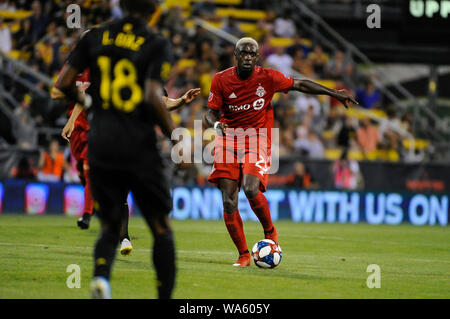 Saturday, August 17, 2019: Toronto FC defender Chris Mavinga (23) charges forward in the second half of the match between Toronto FC and Columbus Crew SC at MAPFRE Stadium, in Columbus OH. Mandatory Photo Credit: Dorn Byg/Cal Sport Media. Toronto FC 2 - Columbus Crew SC 2 at the end of the first half. - Stock Photo