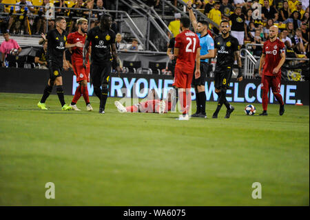 Saturday, August 17, 2019: Toronto FC forward Jozy Altidore (17) lays on the ground after injuring his head in the second half of the match between Toronto FC and Columbus Crew SC at MAPFRE Stadium, in Columbus OH. Mandatory Photo Credit: Dorn Byg/Cal Sport Media. Toronto FC 2 - Columbus Crew SC 2 at the end of the first half. - Stock Photo