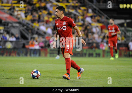 Saturday, August 17, 2019: Toronto FC midfielder Marco Delgado (8) the second half of the match between Toronto FC and Columbus Crew SC at MAPFRE Stadium, in Columbus OH. Mandatory Photo Credit: Dorn Byg/Cal Sport Media. Toronto FC 2 - Columbus Crew SC 2 at the end of the first half. - Stock Photo
