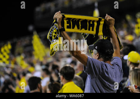 Saturday, August 17, 2019: Columbus Crew SC fan with a home scarf the second half of the match between Toronto FC and Columbus Crew SC at MAPFRE Stadium, in Columbus OH. Mandatory Photo Credit: Dorn Byg/Cal Sport Media. Toronto FC 2 - Columbus Crew SC 2 at the end of the first half. - Stock Photo