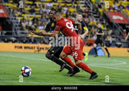Saturday, August 17, 2019: Toronto FC defender Auro (96) and Columbus Crew SC defender Harrison Afful (25) in the second half of the match between Toronto FC and Columbus Crew SC at MAPFRE Stadium, in Columbus OH. Mandatory Photo Credit: Dorn Byg/Cal Sport Media. Toronto FC 2 - Columbus Crew SC 2 at the end of the first half. - Stock Photo
