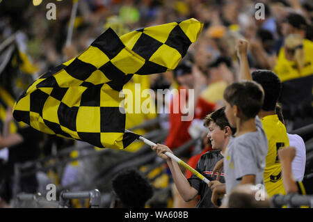 Saturday, August 17, 2019: Columbus Crew SC fans celebrate a goal the second half of the match between Toronto FC and Columbus Crew SC at MAPFRE Stadium, in Columbus OH. Mandatory Photo Credit: Dorn Byg/Cal Sport Media. Toronto FC 2 - Columbus Crew SC 2 at the end of the first half. - Stock Photo