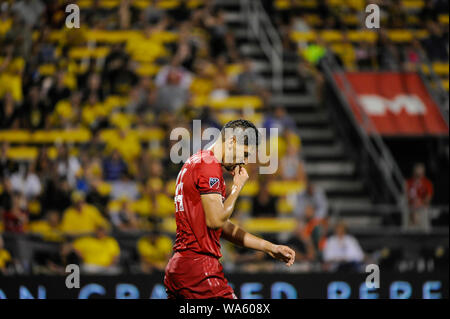 Saturday, August 17, 2019: Toronto FC defender Omar Gonzalez (44) in the second half of the match between Toronto FC and Columbus Crew SC at MAPFRE Stadium, in Columbus OH. Mandatory Photo Credit: Dorn Byg/Cal Sport Media. Toronto FC 2 - Columbus Crew SC 2 at the end of the first half. - Stock Photo