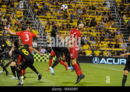 Saturday, August 17, 2019: Toronto FC defender Omar Gonzalez (44) reacts to as though he was hit in the face in the second half of the match between Toronto FC and Columbus Crew SC at MAPFRE Stadium, in Columbus OH. Mandatory Photo Credit: Dorn Byg/Cal Sport Media. Toronto FC 2 - Columbus Crew SC 2 at the end of the first half. - Stock Photo