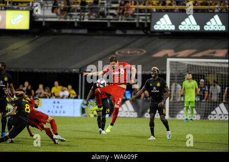 Saturday, August 17, 2019: Toronto FC defender Drew Moor (3) settles the ball in the second half of the match between Toronto FC and Columbus Crew SC at MAPFRE Stadium, in Columbus OH. Mandatory Photo Credit: Dorn Byg/Cal Sport Media. Toronto FC 2 - Columbus Crew SC 2 at the end of the first half. - Stock Photo