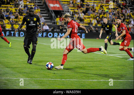 Saturday, August 17, 2019: Toronto FC midfielder Alejandro Pozuelo (10) in the second half of the match between Toronto FC and Columbus Crew SC at MAPFRE Stadium, in Columbus OH. Mandatory Photo Credit: Dorn Byg/Cal Sport Media. Toronto FC 2 - Columbus Crew SC 2 at the end of the first half. - Stock Photo
