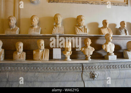 ROME, ITALY - APRIL 6, 2016: Hall of Philosophers, Palazzo Nuovo, Capitoline Museums, Rome, Italy - Stock Photo