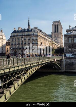 PARIS, FRANCE:  Pont d'Arcole Bridge. A wrought iron suspension bridge  opened in 1848 - Stock Photo