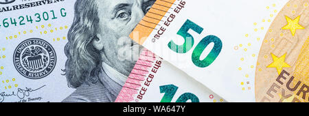 Euro bills. Different denominations on a gray background. 5, 10 50 euros - Stock Photo