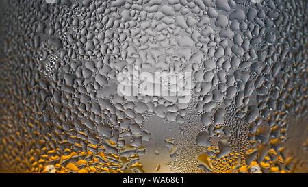 rain drops, trans, parent glass, water drop, condensate water, natural, rainbow effect, purplenatural water, blue condensate - Stock Photo