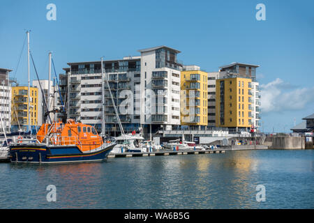Eastbourne RNLI Lifeboat Sovereign Harbour, Eastbourne, East Sussex, England,UK - Stock Photo