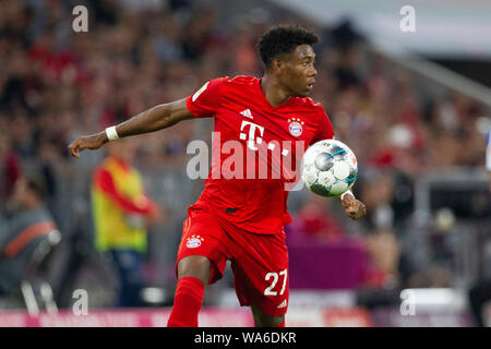 David ALABA (# 27, M). Soccer, FC Bayern Munich (M) - Hertha BSC Berlin (B) 2: 2, Bundesliga, 1.matchday, season 2019/2020, on 16/08/2019 in Muenchen / ALLIANZARENA / Germany. Editorial Note: DFL regulations prohibit any use of photographs as image sequences and / or quasi-video. ¬   usage worldwide - Stock Photo