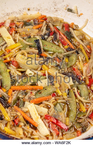 Cooked vegetables served in the frying pan. - Stock Photo