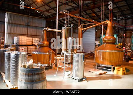 Launceston Distillery Hangar 17 old Ansett site, Whiskey being Distilled, Launceston Airport, Launceston Tasmania, Australia - Stock Photo