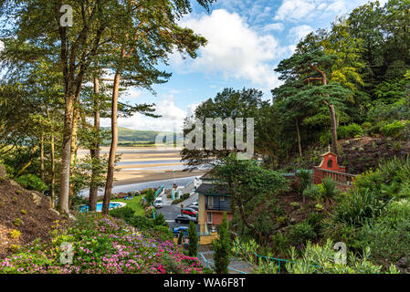 Penrhyndeudraeth, Wales, UK - Aug 15, 2019: View on the estuary from the Portmeirion village with no people - Stock Photo