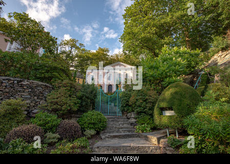Penrhyndeudraeth, Wales, UK - Aug 15, 2019: Palladian inspired building at the Portmeirion village with no people - Stock Photo