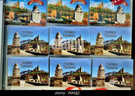 Selling magnets souvenirs  in VELIKO TARNOVO - Black Sea - BULGARIA - Stock Photo