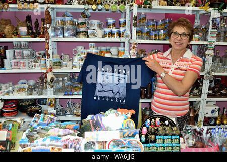 Selling souvenirs  in VELIKO TARNOVO - Black Sea - BULGARIA - Stock Photo