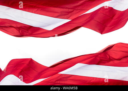 Latvia Flag isolated on white Background with space for Text, National flag of Republic of Latvia - isolated - Stock Photo