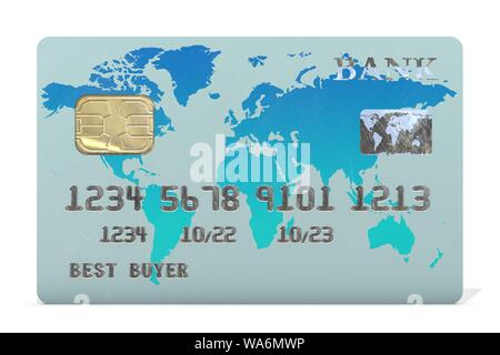 3d illustration: credit card with an electronic chip without indicating the brand and the names of the banks with world map blue-azure color. - Stock Photo