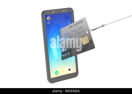 3d illustration: stealing credit cards from a mobile phone using a fishing hook. Metaphor. Safety of personal information, data protection. Security - Stock Photo
