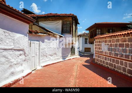 Historical Ankara restoration houses around the alley in Hamamonu district of Altindag, Ankara, Turkey. - Stock Photo