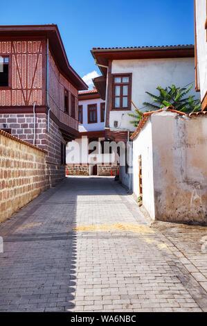 Historical Ankara restoration houses in Hamamonu district of Altindag, Ankara, Turkey. - Stock Photo