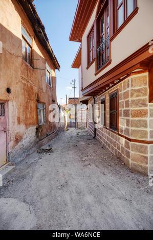 Historical Ankara houses around the alley in Hamamonu district of Altindag, Ankara, Turkey. - Stock Photo