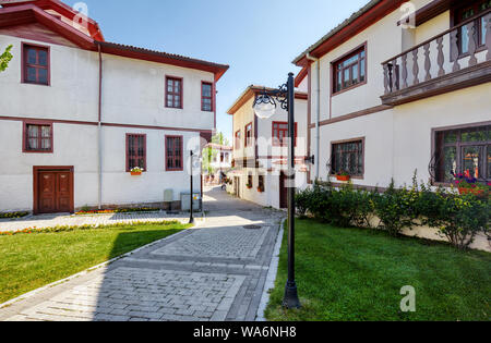 Historical Turkish restoration houses in Hamamonu district of Altindag, Ankara, Turkey. - Stock Photo