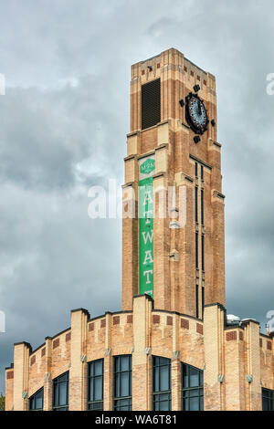 The clock tower of Atwater Market building in Montreal, Quebec, Canada. - Stock Photo